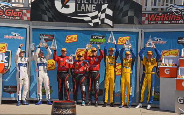 Three class winners toasted in victory lane. [Joe Jennings Photo]