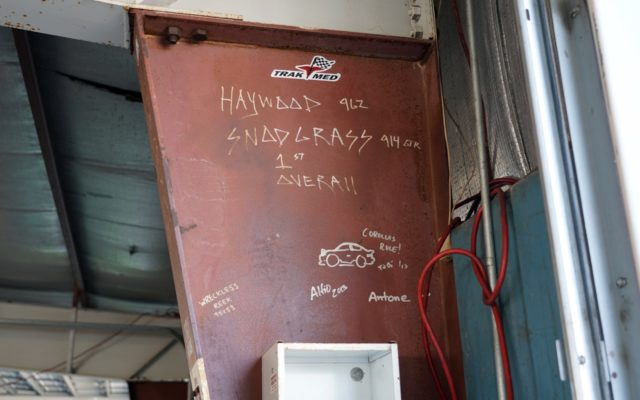 Historic notes left from previous racers in the garage.  [Photo by Jack Webster]