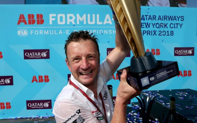 Team Principal Allan McNish with the team trophy.  [Photo by Audi Sport]