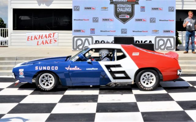 #6 Bill Ockerlund pulls into victory lane with his (71 AMC Javelin) after winning group 11 – Historic Trans Am.  [Dave Jensen Photo]