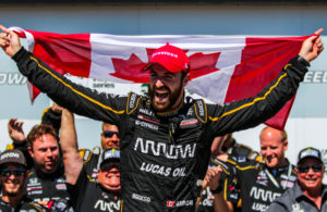 James Hinchcliffe celebrates in victory lane at Iowa Speedway after winning the Iowa Corn 300. © [Andy Clary / Spacesuit Media]