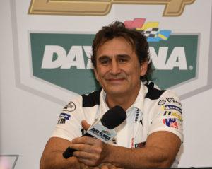 Alex Zanardi flashes his smile during a media session at Daytona. [Joe Jennings Photo]