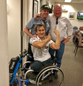 Alex Zanardi greeted by former car owner Chip Ganassi and former teammate Jimmy Vasser. [Joe Jennings Photo]