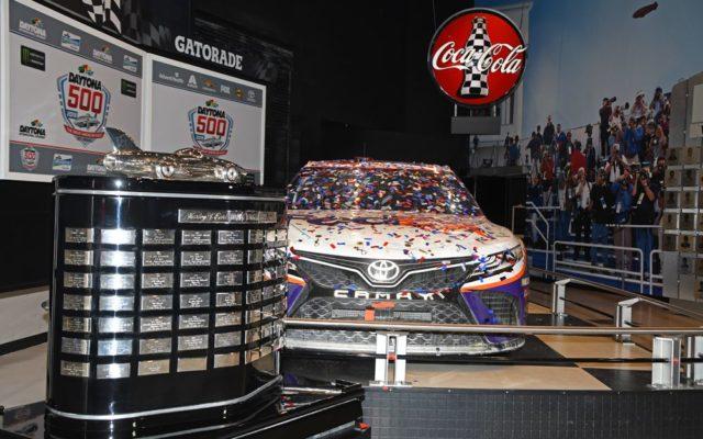 Harley J. Earl trophy rests beside winning Toyota in Sunday's Daytona 500.  [Joe Jennings Photo]