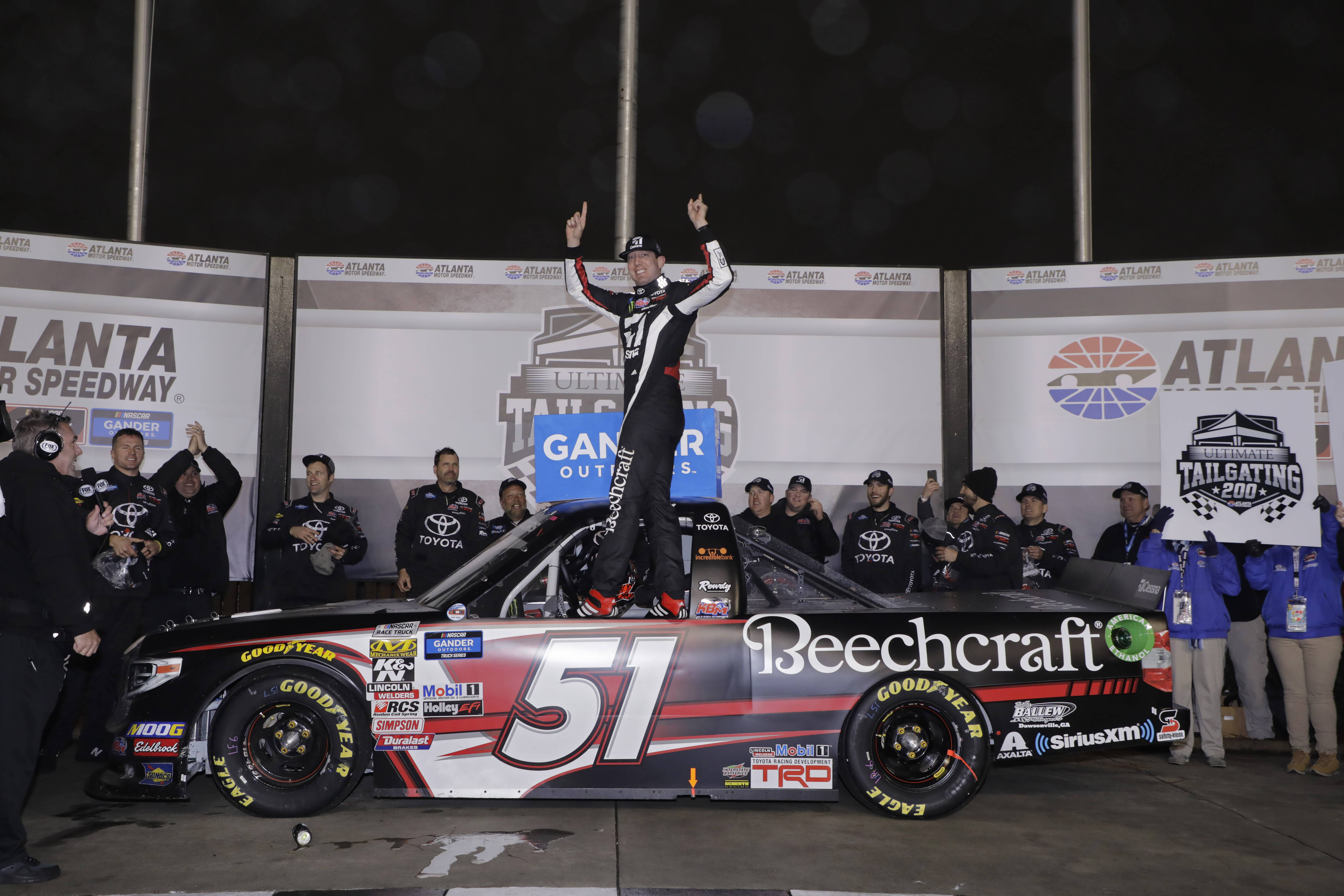 Kyle Busch's victory in Saturday's Ultimate Tailgating 200 at Atlanta Motor Speedway enabled the veteran to surpass Ron Hornaday as the winningest driver in NASCAR Gander Outdoors Truck Series competition. (HHP/Harold Hinson photo)