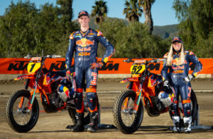 2019 Red Bull KTM Factory Flat Track Team: Dan Bromley and Shayna Texter. [Simon Cudby Photo]