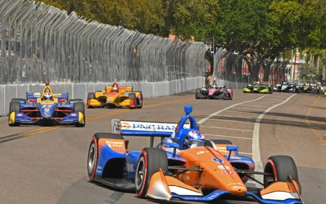 Scott Dixon leads a swarm of cars through the kink.  [Joe Jennings Photo]