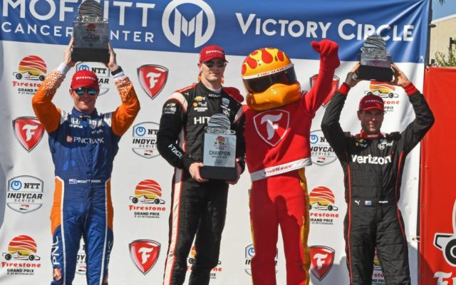 Podium with Scott Dixon, winner Josef Newgarden and Will Power.  [Joe Jennings Photo]