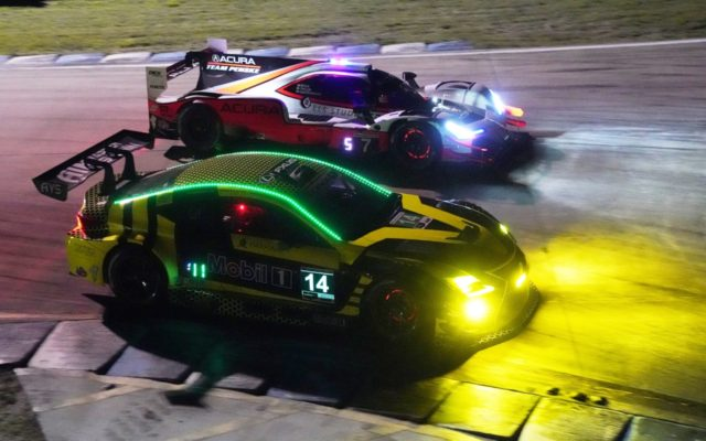 Night IMSA action at the hairpin.  [Photo by Jack Webster]