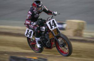 Briar Bauman and his Indian Motorcycle/Progressive Insurance FTR750 on the way to winning at Daytona. [Photo Credit: Scott Hunter/American Flat Track]