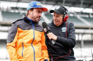 Fernando Alonso speaking to NBC announcer Robin Miller in Pit Lane at Indianapolis. [Joe Skibinski Photo]