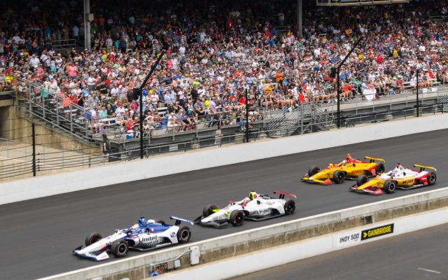 Graham Rahal leads Santino Ferrucci, Ryan Hunter-Reay and Takuma Sato down the front straight at Indianapolis.  [Russ Lake Photo]
