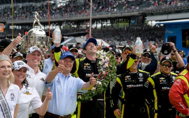 Simon Pagenaud celebrates in victory lane af winning the Indianapolis 500.  [Russ Lake Photo]