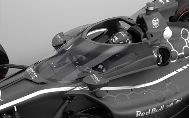 Rendering of the 2020 Cockpit Protection Innovation between INDYCAR and Red Bull Advanced Technologies.  [courtesy IndyCar Media]