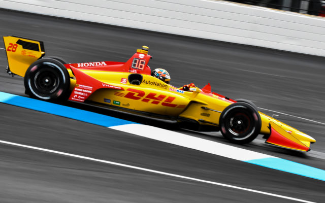Ryan Hunter-Reay during practice at the Indianapolis Motor Speedway for the IndyCar Grand Prix.  [John Wiedemann Photo]