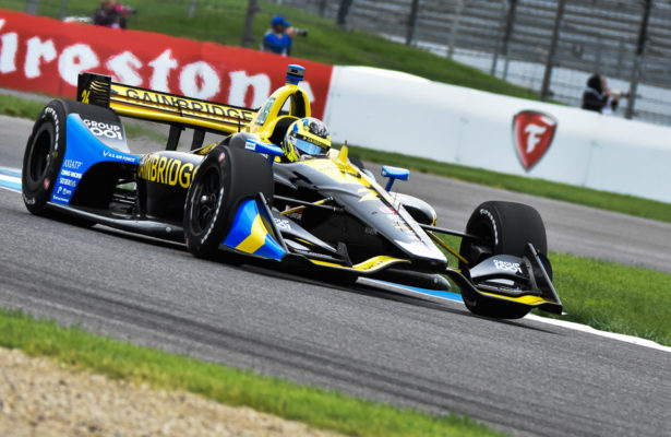Zach Veach was practice at the Indianapolis Motor Speedway for the IndyCar Grand Prix. [John Wiedemann Photo]