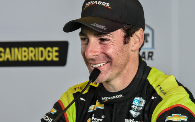 A happy Indianapolis 500 winner, Simon Pagenaud meets with the media.  [John Wiedemann Photo]