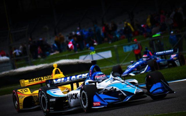 Takuma Sato and Helio Castroneves – INDYCAR Grand Prix.  © [Jamie Sheldrick/ Spacesuit Media]