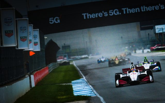 Racing in the rain at the INDYCAR Grand Prix.  © [Jamie Sheldrick/ Spacesuit Media]