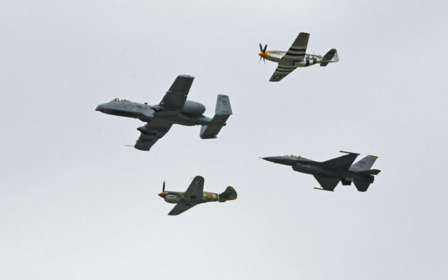Flyover that took place during pre-race ceremonies.  [Joe Jennings Photo]
