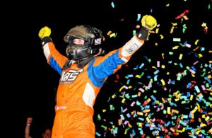 Hoosier 100 winner Tyler Courtney celebrates in victory lane. [Joe Jennings Photo]