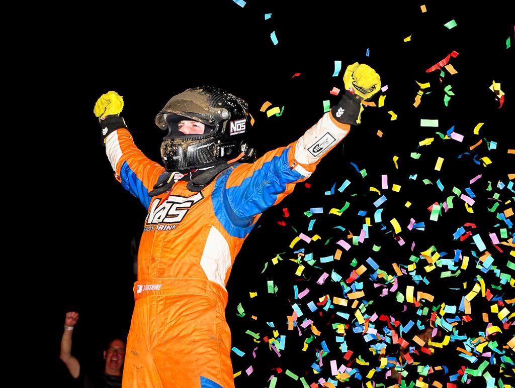 Hoosier 100 winner Tyler Courtney celebrates in victory lane. [Joe Jennings Photo]