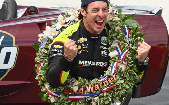 Simon Pagenaud celebrates at finish line.  [Joe Jennings Photo]