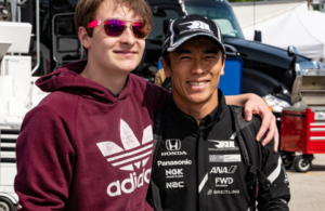 Camin Hellmich and Takuma Sato at Road America. [Rich Zimmermann Photo]