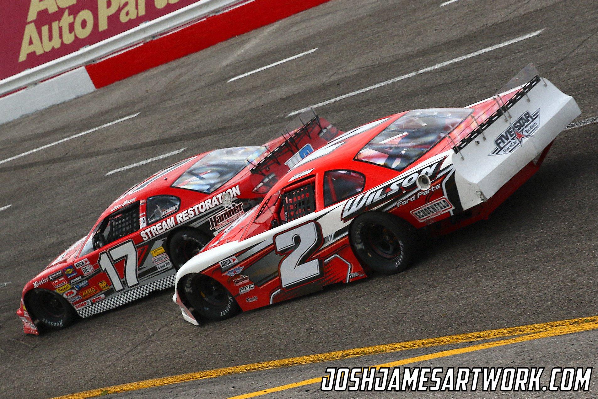 Josh Brock (17) battles with Donnie Wilson (2) for position (Josh James Photo)