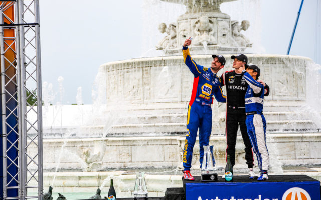 Alexander Rossi shares a selfie with Josef Newgarden and Takuma Sato in victory lane at the Chevrolet Detroit Grand Prix.  © [Andy Clary/ Spacesuit Media]