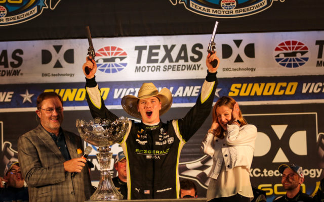Josef Newgarden celebrates in victory lane at Texas Motor Speedway.  © [Andy Clary/ Spacesuit Media]