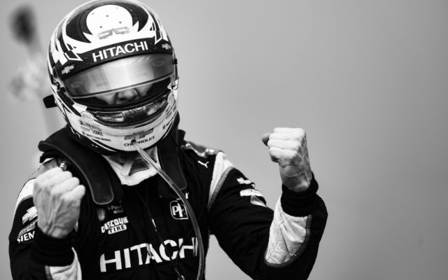 Josef Newgarden celebrates winning Round 1 of the Chevrolet Detroit Grand Prix.  © [Jamie Sheldrick/ Spacesuit Media]