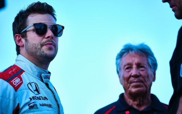 Marco and Mario Andretti during pre-race at Texas Motor Speedway.  © [Jamie Sheldrick/ Spacesuit Media]