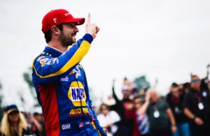 Alexander Rossi celebrates his victory at Road America. © [Jamie Sheldrick/ Spacesuit Media]