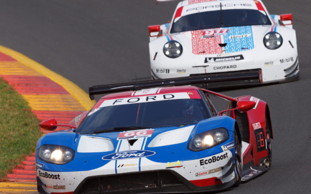 Ford GT in race action at Watkins Glen.  [Photo by Jack Webster]