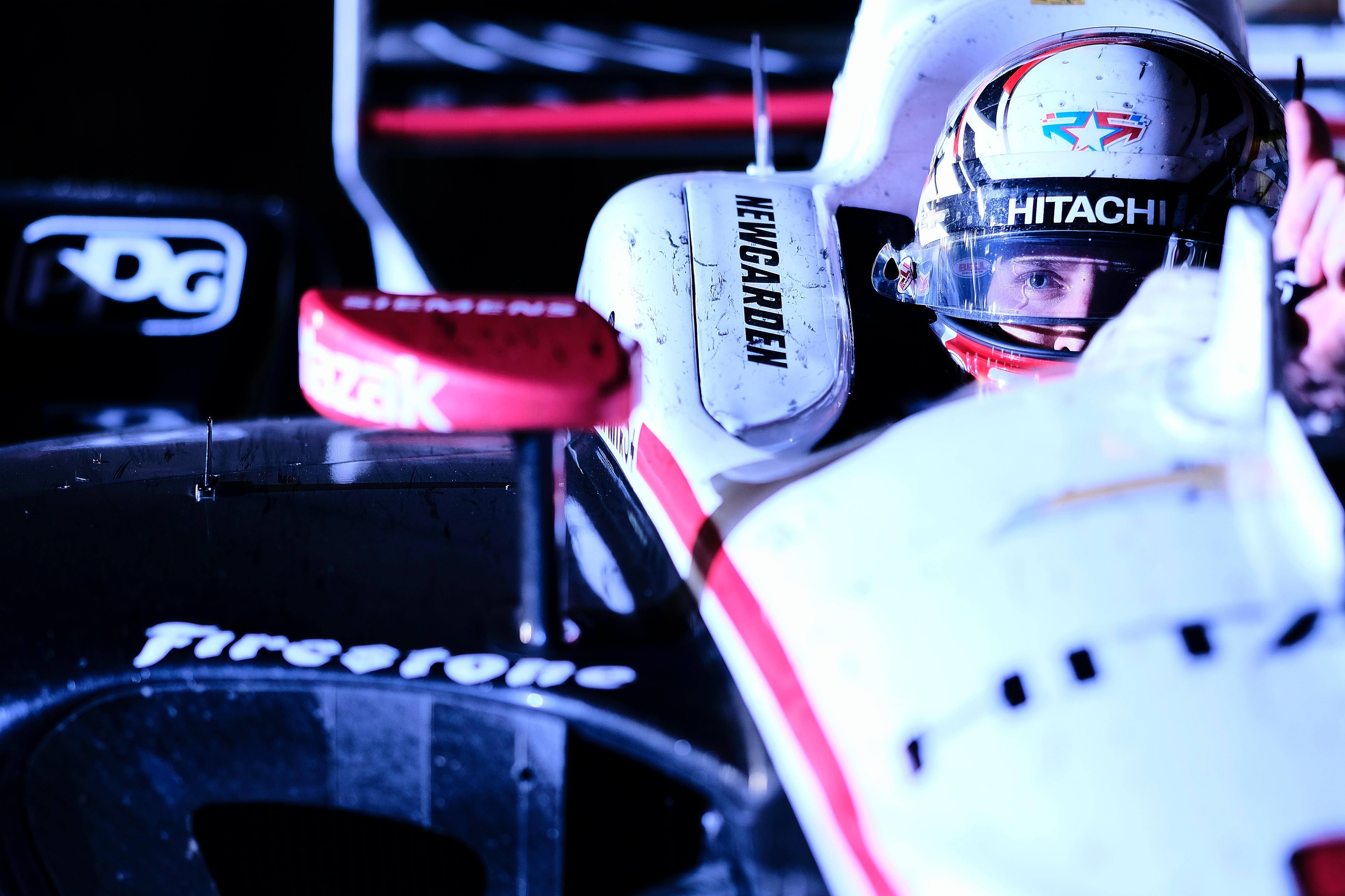 Josef Newgarden pulls into victory lane at Iowa Speedway. © [Jamie Sheldrick/ Spacesuit Media]