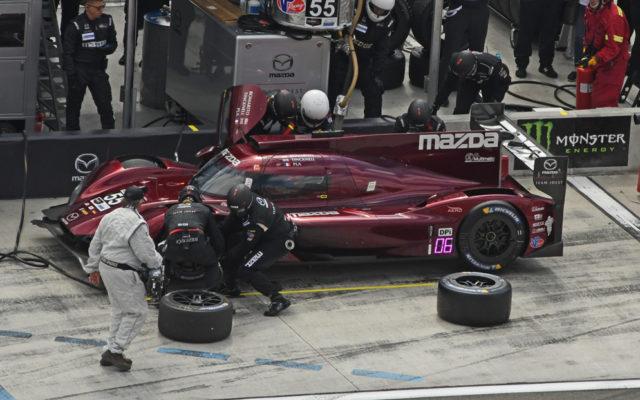 Winning Mazda's first pit stop.  [Joe Jennings Photo]