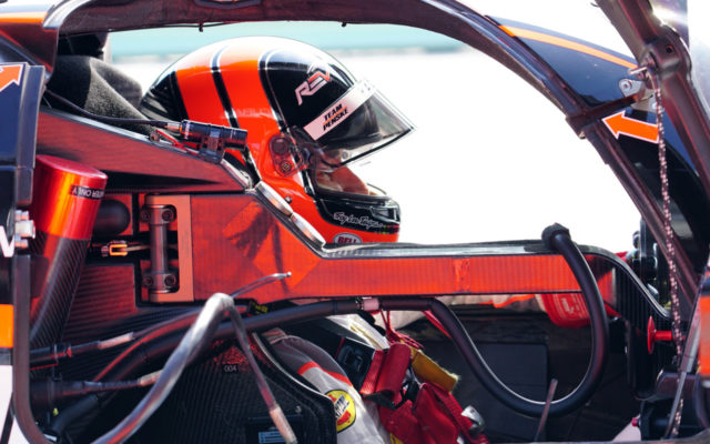 Helio Castroneves in his office.  [Photo by Jack Webster]