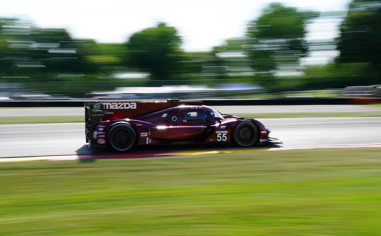 Winning Mazda at speed. [Photo by Jack Webster]