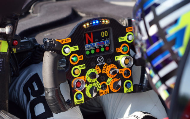 Mazda steering wheel.  [Photo by Jack Webster]