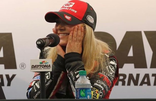 Natalie Decker meets with the media at Daytona after winning the ARCA pole in 2018. [Natalie Decker Racing photo]