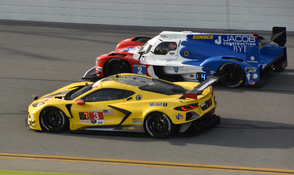 No. 3 Corvette competes with LMP2 entry (DragonSpeed USA) on the tri-oval at Daytona. [Joe Jennings Photo]