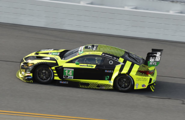 Kyle Busch in action in Lexus RC-F GT3 on the tri-oval at Daytona. [Joe Jennings Photo]