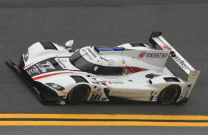The #77 Pole winning Mazda Team Joest DPi flies through the high banks in Turn 4 at Daytona. [Joe Jennings Photo]
