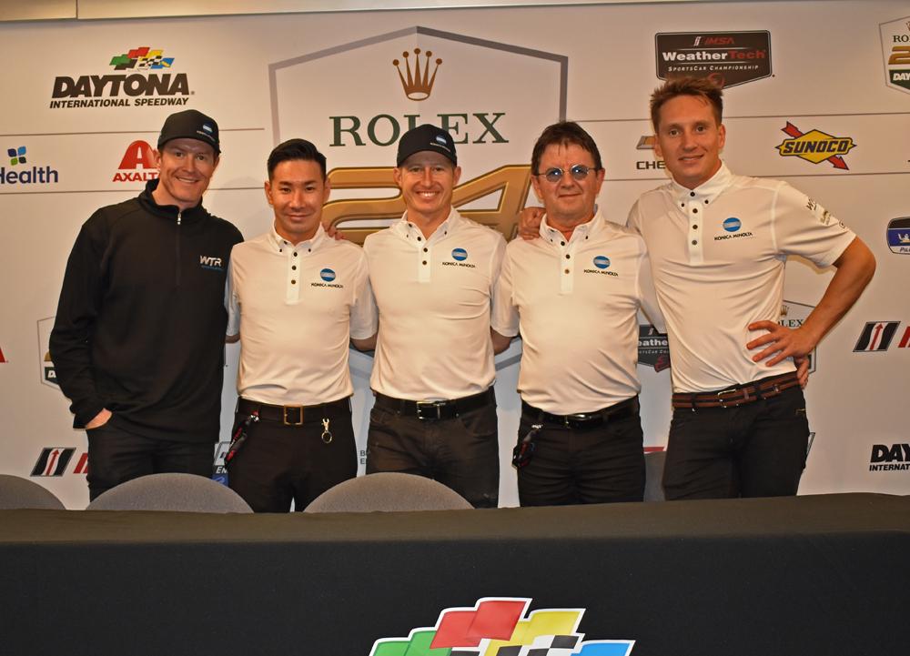 Wayne Taylor Racing team of Scott Dixon, Kaumi Kabayashi, Ryan Briscoe, owner Wayne taylor and Renger van der Zende. [Joe Jennings Photo]