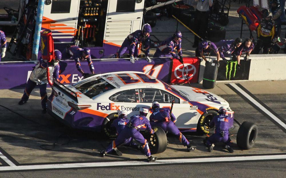 Three-time Daytona 500 winner Denny Hamlin pits for service. [Joe Jennings Photo]