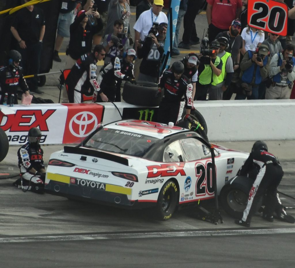 Runner-up Harrison Burton makes a pit stop sideways. [Joe Jennings Photo]