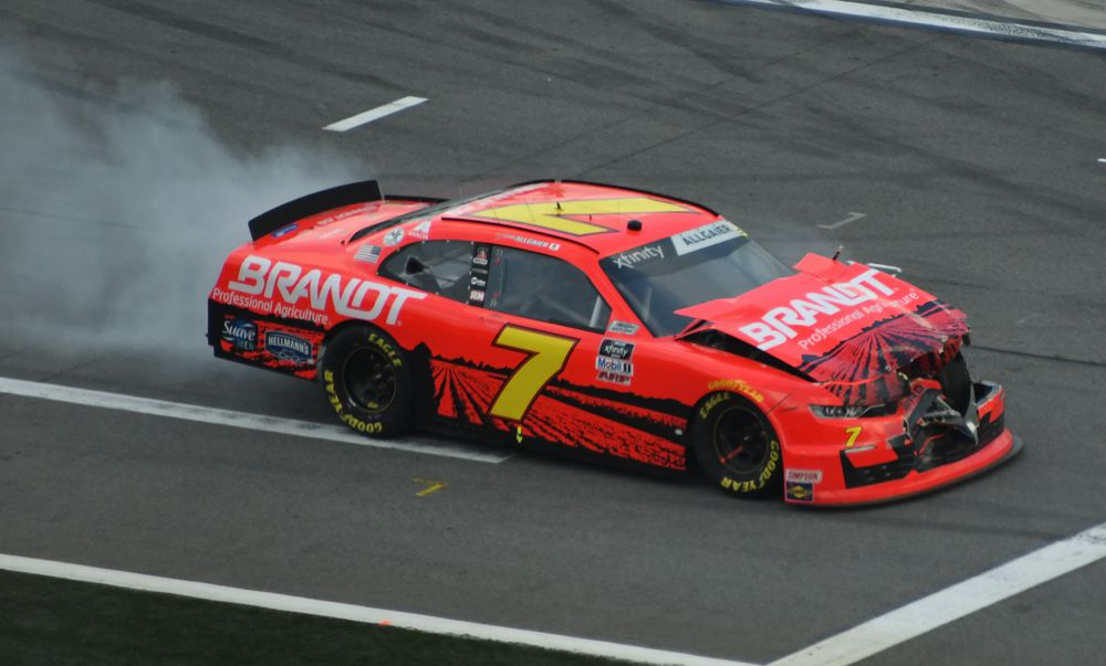 Justin Allgaier got caught up in late race wreck. [Joe Jennings Photo]