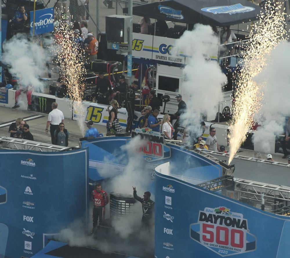 Fiery driver introduction in pre-race ceremonies. [Joe Jennings Photo]