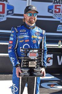 Daytona 500 pole winner Ricky Stenhouse Jr. poses proudly with the pole trophy. [Joe Jennings Photo]